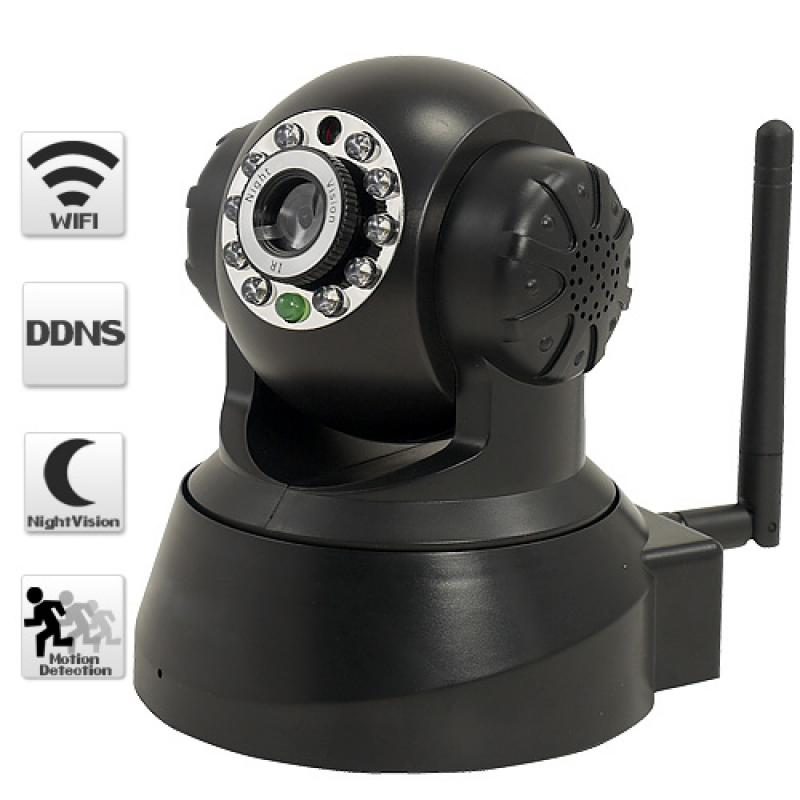 p2p ip network wifi camera with pan tilt two way audio and night vision. Black Bedroom Furniture Sets. Home Design Ideas